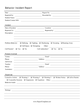 Behavior Incident Report Report Template  Incident Report Templates