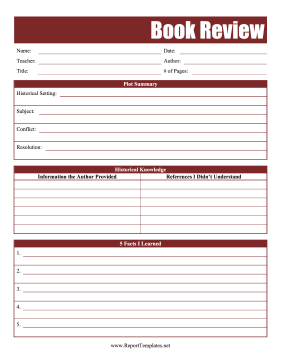 Nonfiction Book Report Report Template