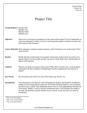 Project Abstract Template Report Template